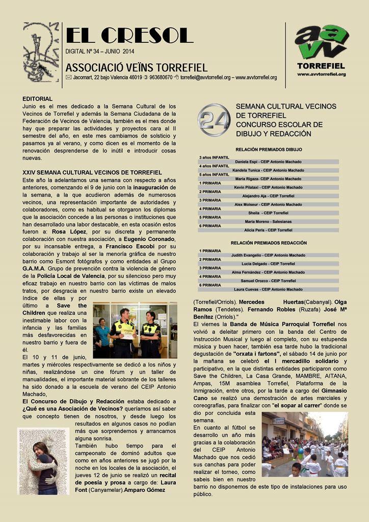 2014   Boletin AAVV Torrefiel  El Cresol  Mercadillo Solidario 14 junio Torrefiel291406
